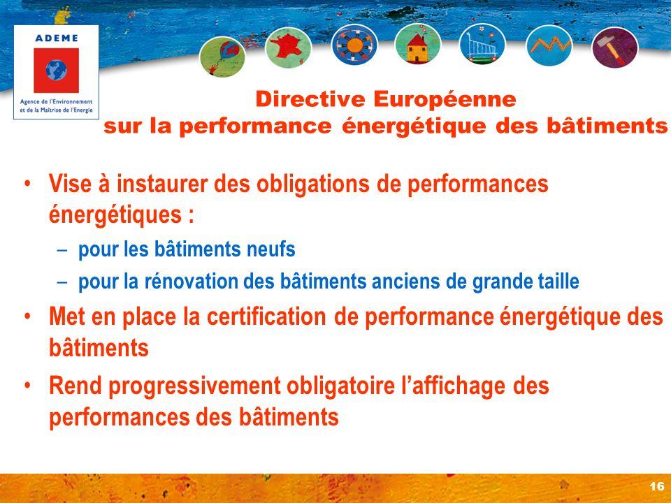 16 Directive Européenne sur la performance énergétique des bâtiments Vise à instaurer des obligations de performances énergétiques : – pour les bâtime