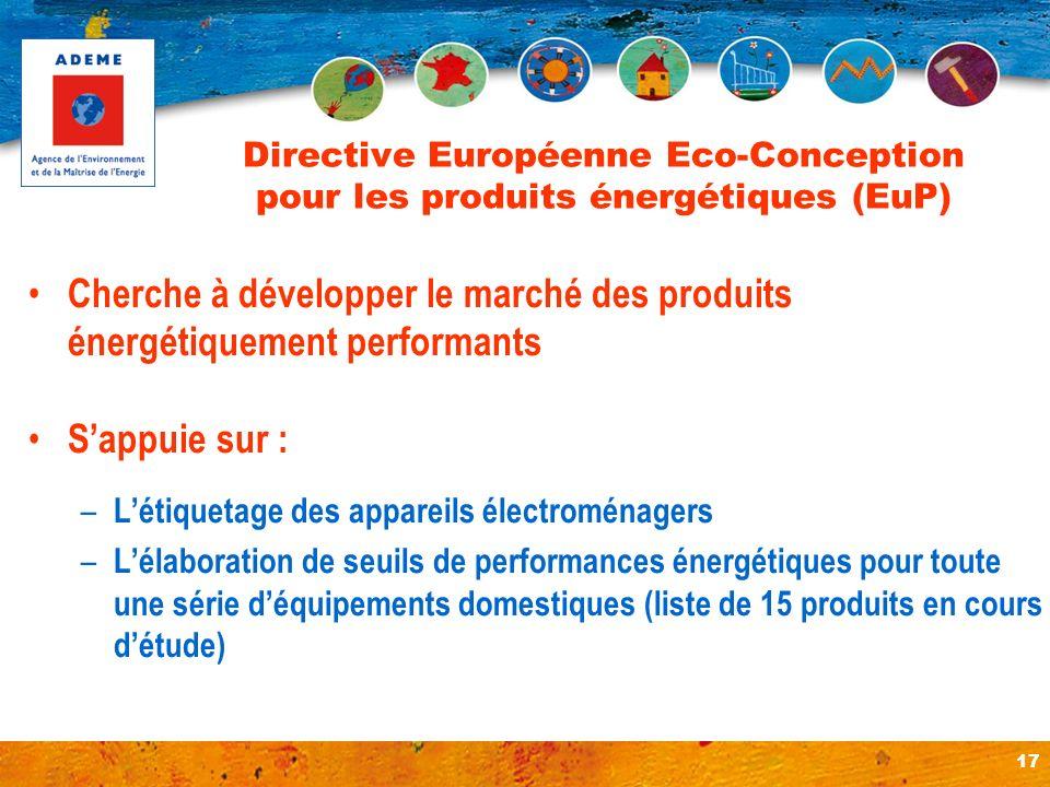 17 Directive Européenne Eco-Conception pour les produits énergétiques (EuP) Cherche à développer le marché des produits énergétiquement performants Sa