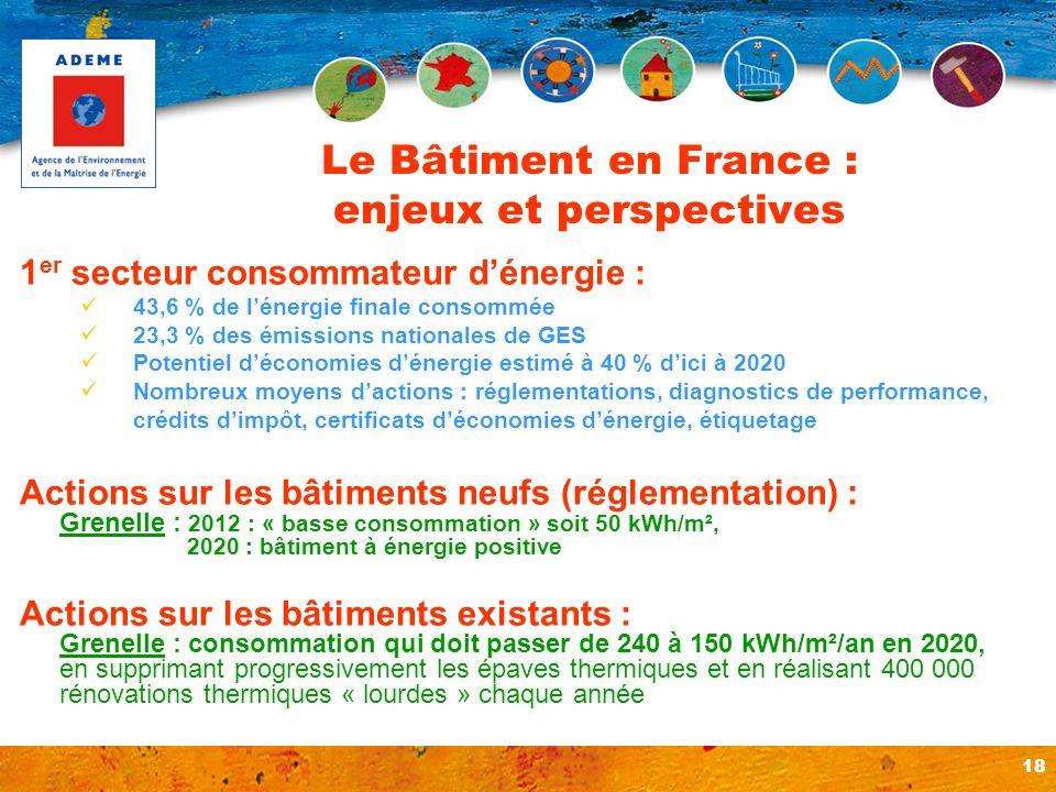 18 Le Bâtiment en France : enjeux et perspectives 1 er secteur consommateur dénergie : 43,6 % de lénergie finale consommée 23,3 % des émissions nation