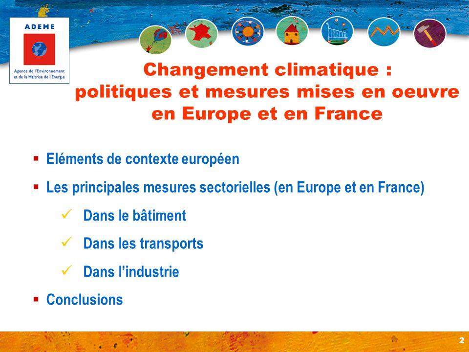2 Eléments de contexte européen Les principales mesures sectorielles (en Europe et en France) Dans le bâtiment Dans les transports Dans lindustrie Con