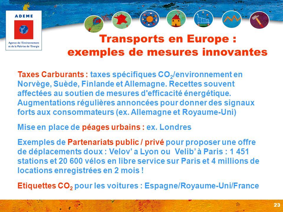23 Taxes Carburants : taxes spécifiques CO 2 /environnement en Norvège, Suède, Finlande et Allemagne. Recettes souvent affectées au soutien de mesures