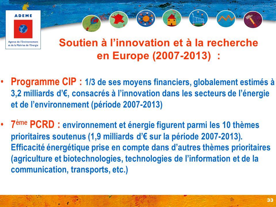 33 Soutien à linnovation et à la recherche en Europe (2007-2013) : Programme CIP : 1/3 de ses moyens financiers, globalement estimés à 3,2 milliards d