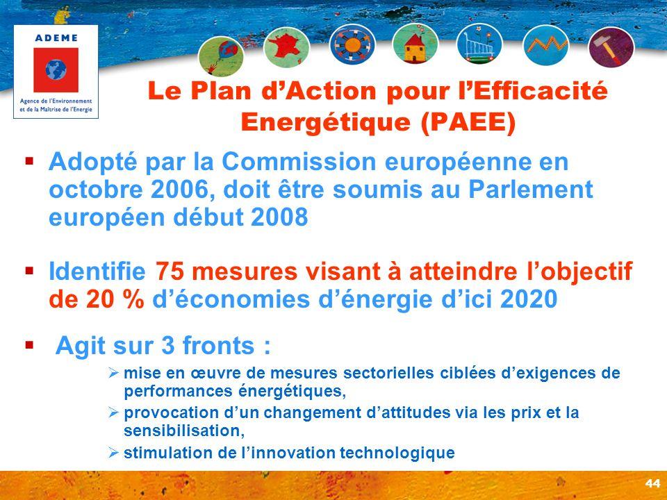 44 Le Plan dAction pour lEfficacité Energétique (PAEE) Adopté par la Commission européenne en octobre 2006, doit être soumis au Parlement européen déb