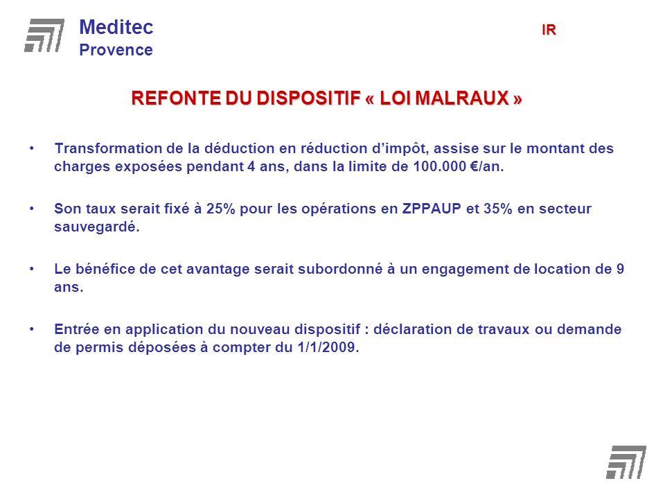 REFONTE DU DISPOSITIF « LOI MALRAUX » Transformation de la déduction en réduction dimpôt, assise sur le montant des charges exposées pendant 4 ans, da