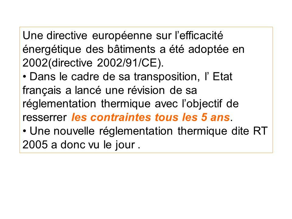 Une directive européenne sur lefficacité énergétique des bâtiments a été adoptée en 2002(directive 2002/91/CE).