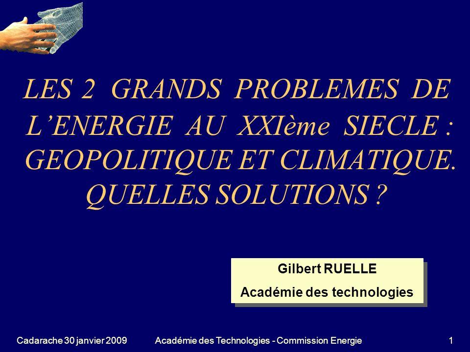 Cadarache 30 janvier 2009Académie des Technologies - Commission Energie12 Lextrapolation sur le siècle MAIS LE CO 2 ???