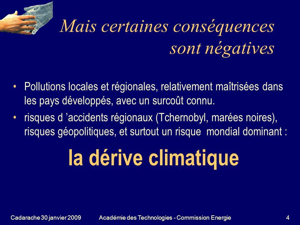 Cadarache 30 janvier 2009Académie des Technologies - Commission Energie5 Même si ce risque climatique nexistait pas, pourrait-on poursuivre un tel développement de la consommation dénergie ?