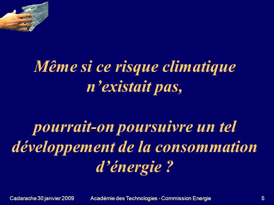 Cadarache 30 janvier 2009Académie des Technologies - Commission Energie66 Le solaire photovoltaïque et son prix Prix de la partie cellule (environ 3 à 6 / Wc) pourrait tomber vers 1 à 3 / W en 2020.