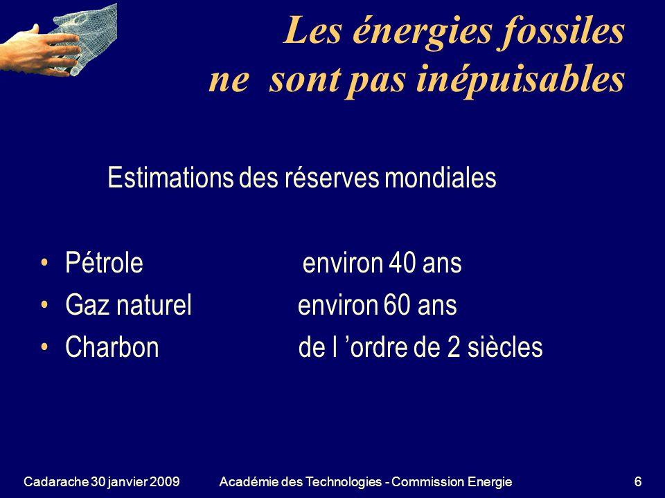 Cadarache 30 janvier 2009Académie des Technologies - Commission Energie67 La géothermie Lénergie géothermique est une énergie nucléaire, provient de la désintégration des éléments radioactifs à longue période.