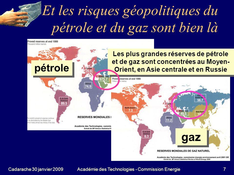Cadarache 30 janvier 2009Académie des Technologies - Commission Energie48 De par leur nom, les énergies renouvelables sont à priori sympathiques Renouvelables = leurs réserves ne sépuisent pas comme celles du pétrole et du gaz, elles se renouvelleront tant que le soleil existera.