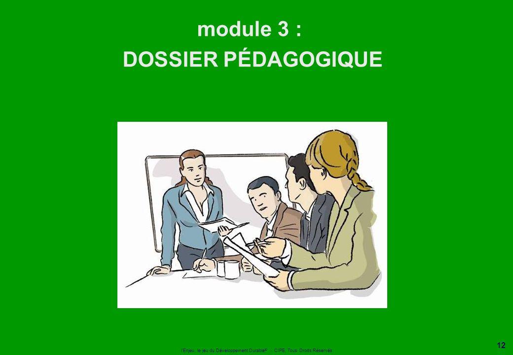 l'Enjeu, le jeu du Développement Durable ® - CIPE, Tous Droits Réservés 12 module 3 : DOSSIER PÉDAGOGIQUE