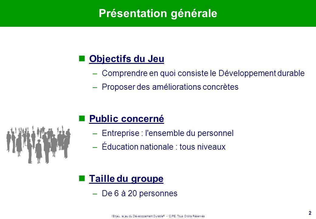2 Présentation générale Objectifs du Jeu –Comprendre en quoi consiste le Développement durable –Proposer des améliorations concrètes Public concerné –