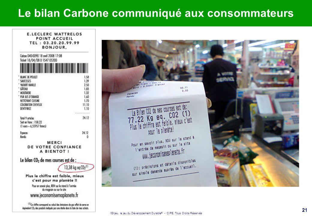 l'Enjeu, le jeu du Développement Durable ® - CIPE, Tous Droits Réservés 21 Le bilan Carbone communiqué aux consommateurs