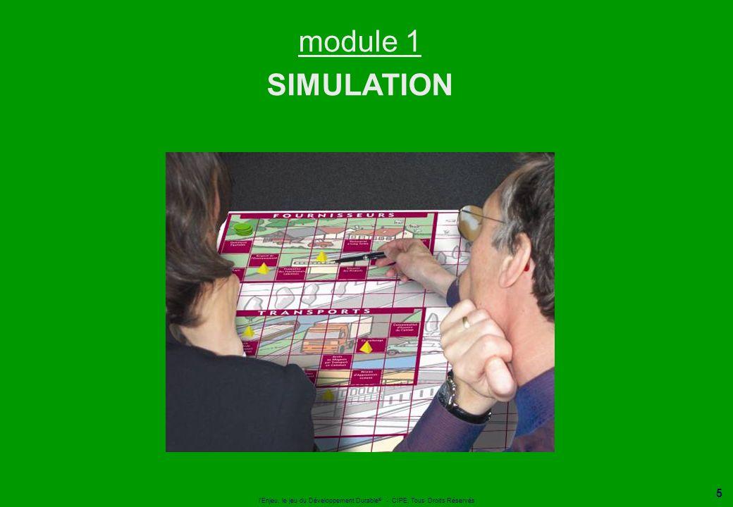 l'Enjeu, le jeu du Développement Durable ® - CIPE, Tous Droits Réservés 5 module 1 SIMULATION