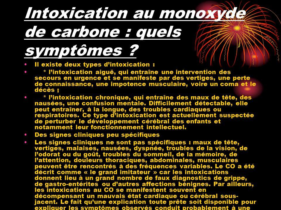 Intoxication au monoxyde de carbone : quels symptômes .