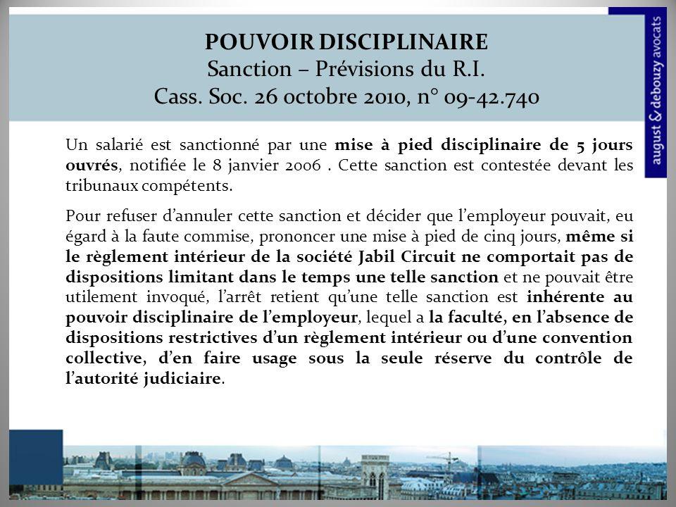 POUVOIR DISCIPLINAIRE Sanction – Prévisions du R.I.