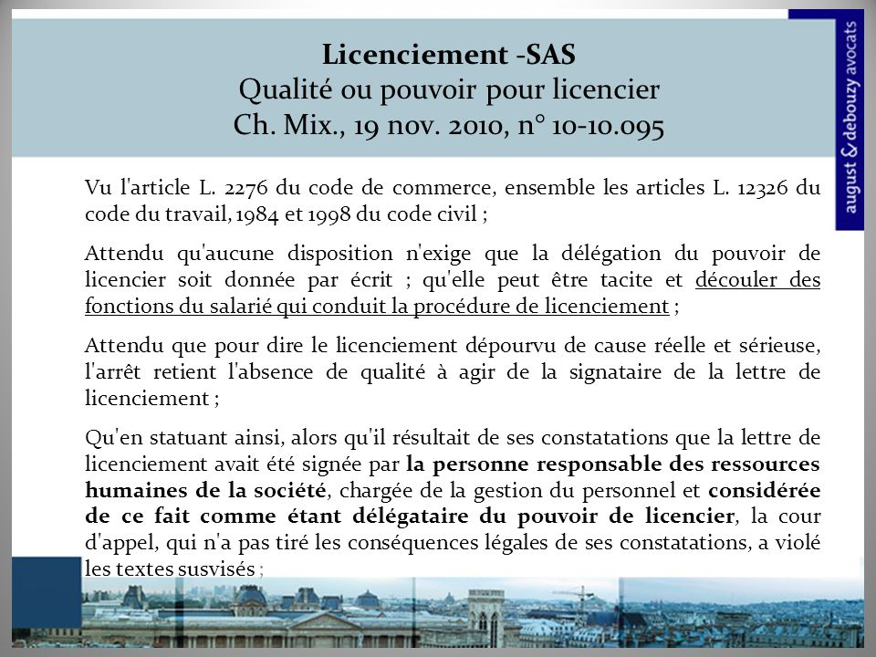 Licenciement -SAS Qualité ou pouvoir pour licencier Ch.