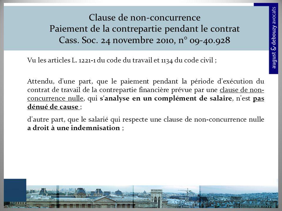 Clause de non-concurrence Paiement de la contrepartie pendant le contrat Cass.