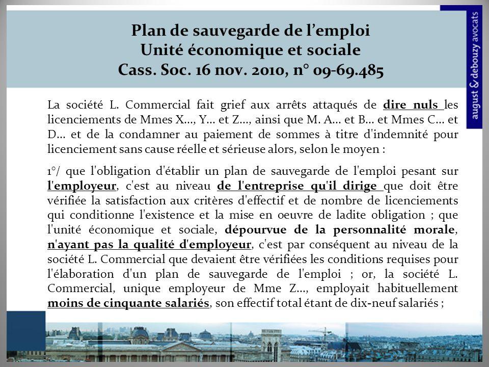 Plan de sauvegarde de lemploi Unité économique et sociale Cass.