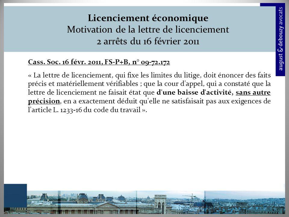 Licenciement économique Motivation de la lettre de licenciement 2 arrêts du 16 février 2011 Cass.