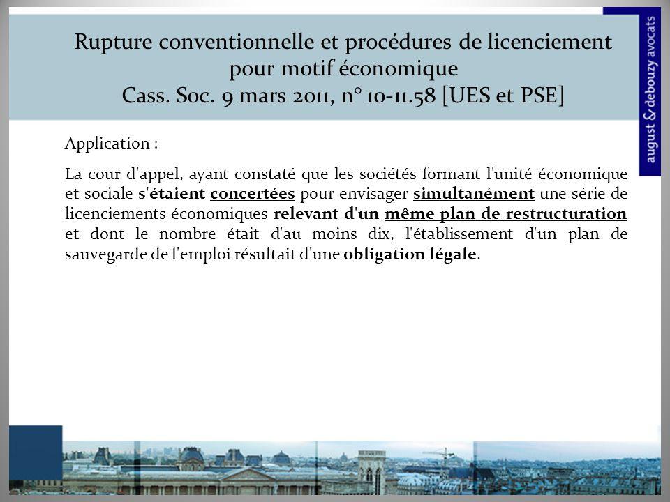 Rupture conventionnelle et procédures de licenciement pour motif économique Cass.
