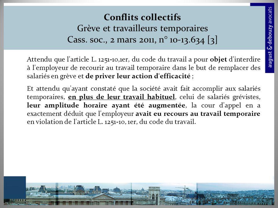 Conflits collectifs Grève et travailleurs temporaires Cass.