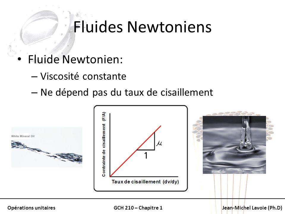Opérations unitairesGCH 210 – Chapitre 1Jean-Michel Lavoie (Ph.D) Fluides Newtoniens Fluide Newtonien: – Viscosité constante – Ne dépend pas du taux d