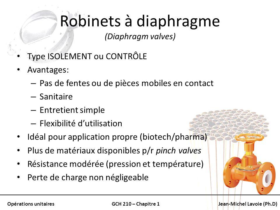 Opérations unitairesGCH 210 – Chapitre 1Jean-Michel Lavoie (Ph.D) Robinets à diaphragme (Diaphragm valves) Type ISOLEMENT ou CONTRÔLE Avantages: – Pas