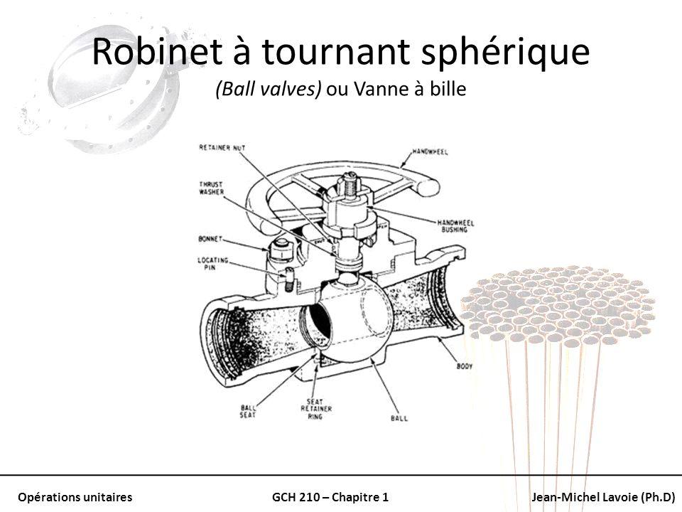 Opérations unitairesGCH 210 – Chapitre 1Jean-Michel Lavoie (Ph.D) Robinet à tournant sphérique (Ball valves) ou Vanne à bille