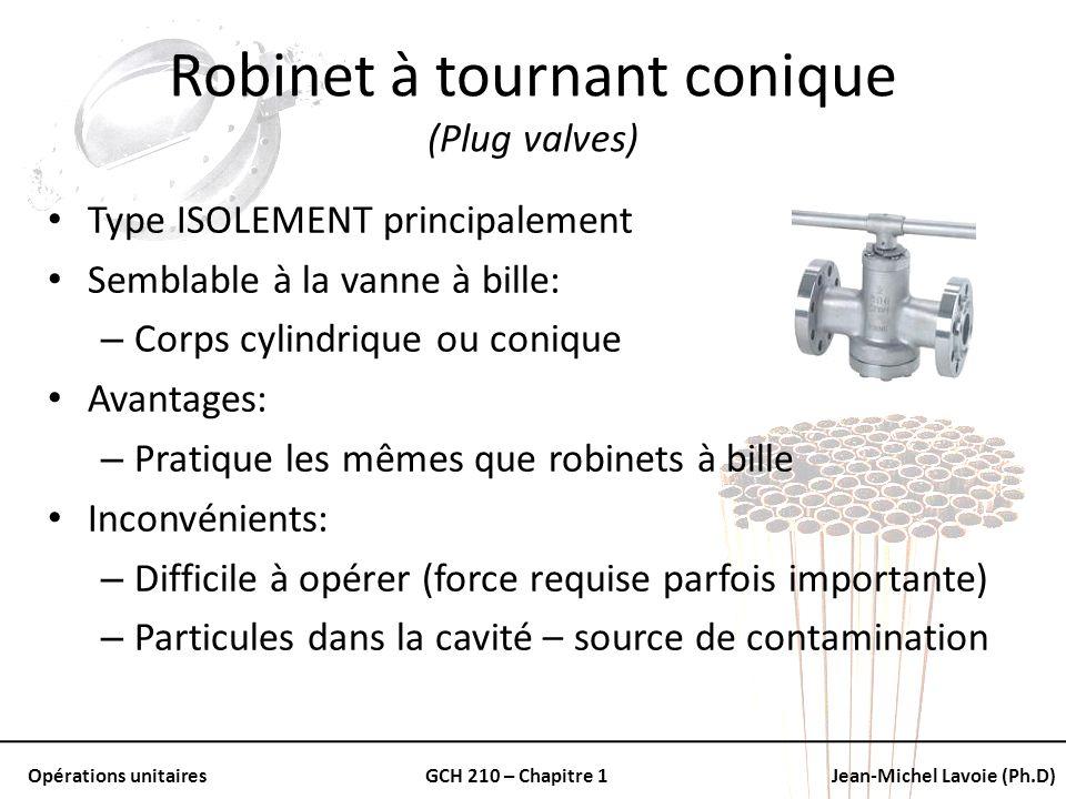 Opérations unitairesGCH 210 – Chapitre 1Jean-Michel Lavoie (Ph.D) Robinet à tournant conique (Plug valves) Type ISOLEMENT principalement Semblable à l
