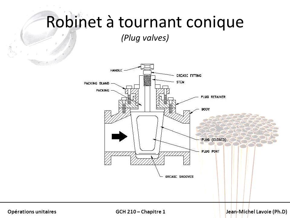 Opérations unitairesGCH 210 – Chapitre 1Jean-Michel Lavoie (Ph.D) Robinet à tournant conique (Plug valves)