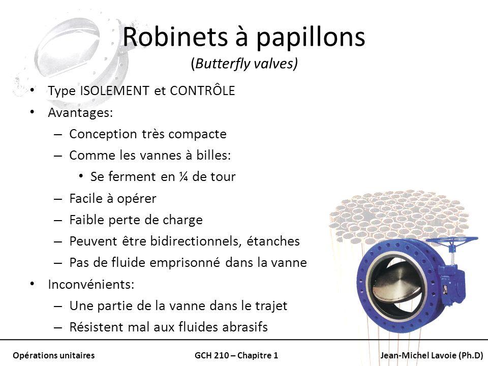 Opérations unitairesGCH 210 – Chapitre 1Jean-Michel Lavoie (Ph.D) Robinets à papillons (Butterfly valves) Type ISOLEMENT et CONTRÔLE Avantages: – Conc
