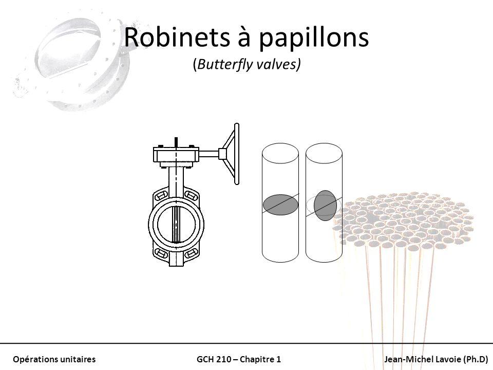Opérations unitairesGCH 210 – Chapitre 1Jean-Michel Lavoie (Ph.D) Robinets à papillons (Butterfly valves)