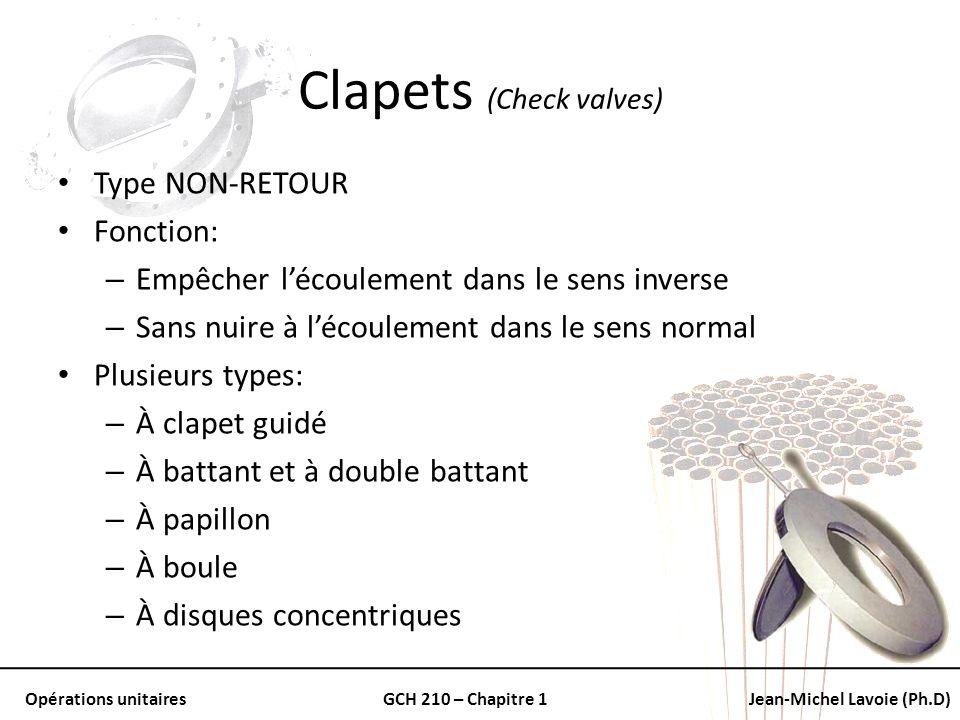Opérations unitairesGCH 210 – Chapitre 1Jean-Michel Lavoie (Ph.D) Clapets (Check valves) Type NON-RETOUR Fonction: – Empêcher lécoulement dans le sens