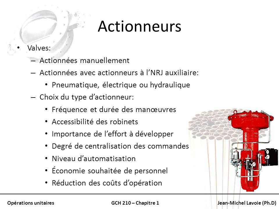 Opérations unitairesGCH 210 – Chapitre 1Jean-Michel Lavoie (Ph.D) Actionneurs Valves: – Actionnées manuellement – Actionnées avec actionneurs à lNRJ a