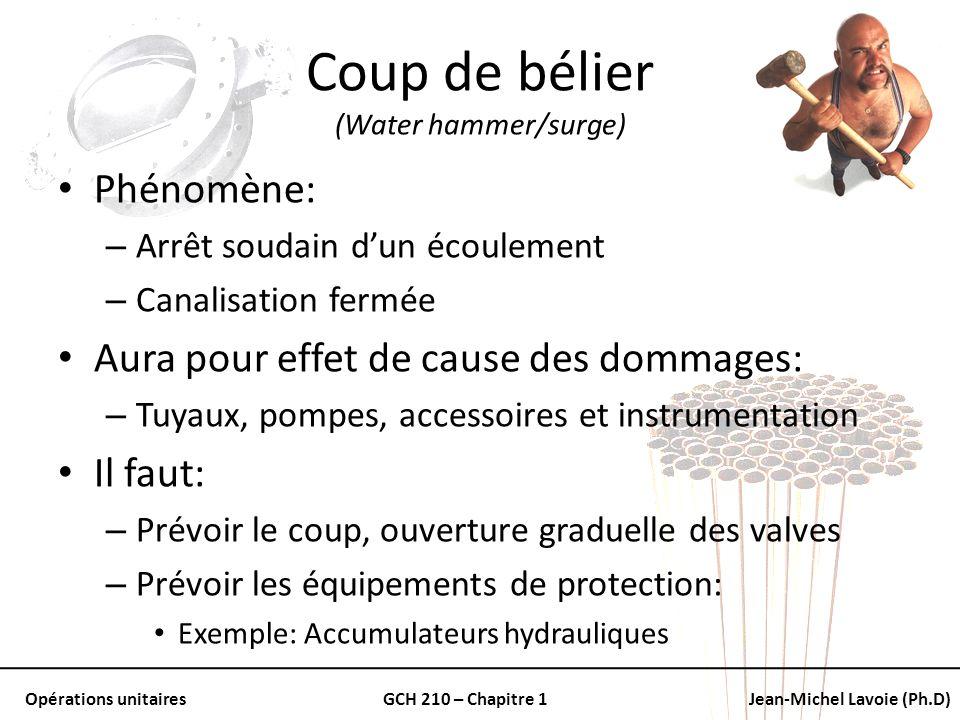 Opérations unitairesGCH 210 – Chapitre 1Jean-Michel Lavoie (Ph.D) Coup de bélier (Water hammer/surge) Phénomène: – Arrêt soudain dun écoulement – Cana