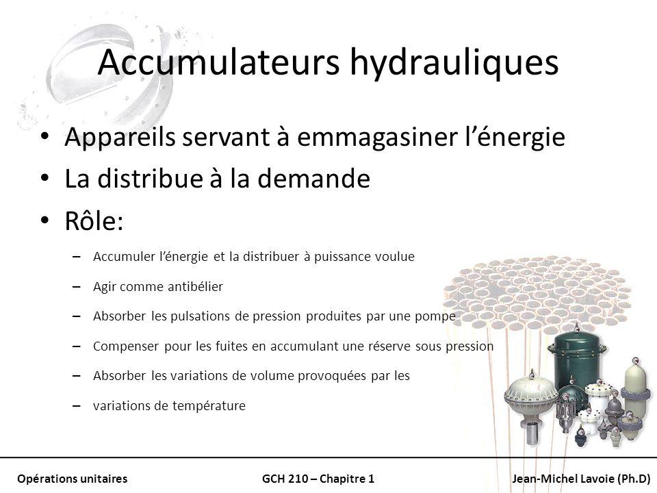 Opérations unitairesGCH 210 – Chapitre 1Jean-Michel Lavoie (Ph.D) Accumulateurs hydrauliques Appareils servant à emmagasiner lénergie La distribue à l