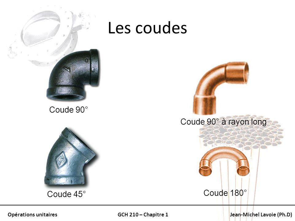 Opérations unitairesGCH 210 – Chapitre 1Jean-Michel Lavoie (Ph.D) Les coudes Coude 90° Coude 45° Coude 180° Coude 90° à rayon long