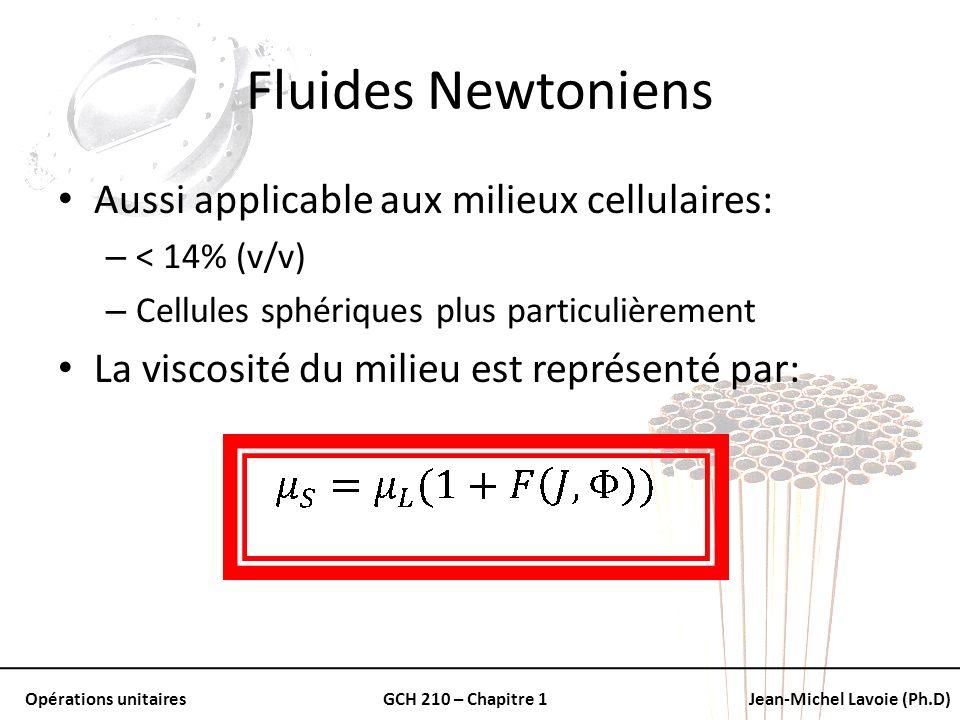 Opérations unitairesGCH 210 – Chapitre 1Jean-Michel Lavoie (Ph.D) Fluides Newtoniens Aussi applicable aux milieux cellulaires: – < 14% (v/v) – Cellule