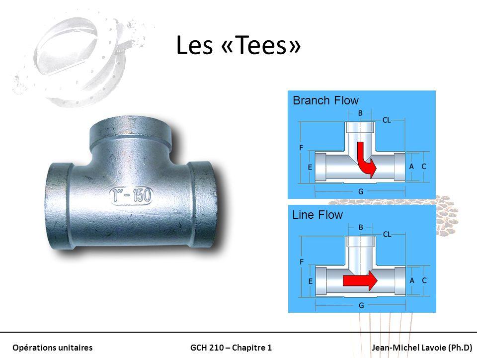 Opérations unitairesGCH 210 – Chapitre 1Jean-Michel Lavoie (Ph.D) Les «Tees» Branch Flow Line Flow