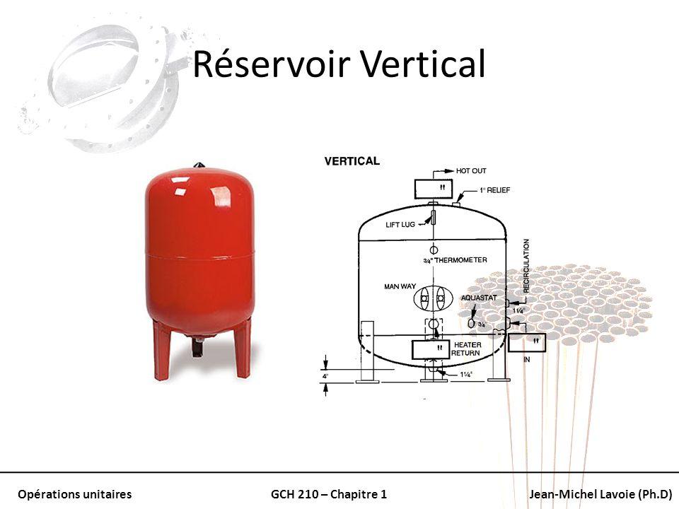Opérations unitairesGCH 210 – Chapitre 1Jean-Michel Lavoie (Ph.D) Réservoir Vertical