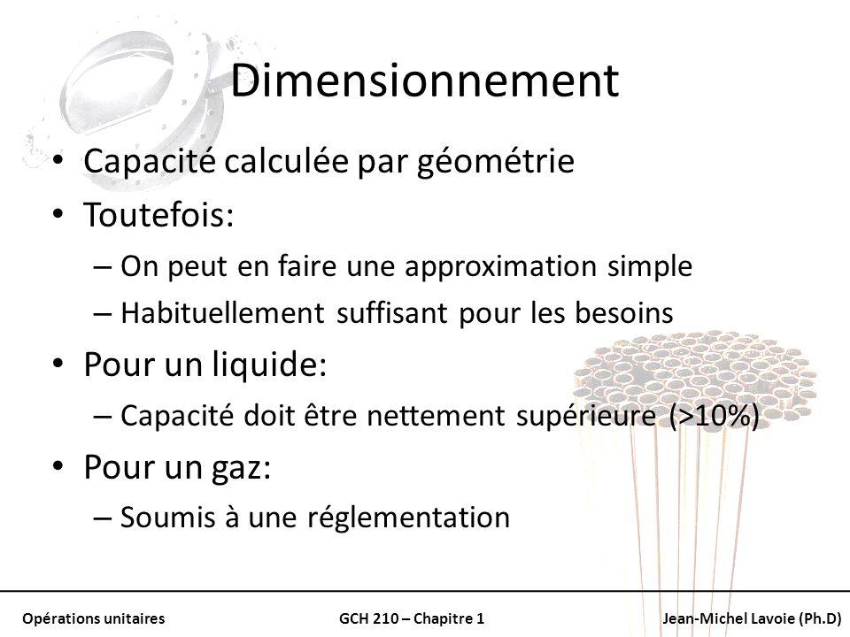 Opérations unitairesGCH 210 – Chapitre 1Jean-Michel Lavoie (Ph.D) Dimensionnement Capacité calculée par géométrie Toutefois: – On peut en faire une ap