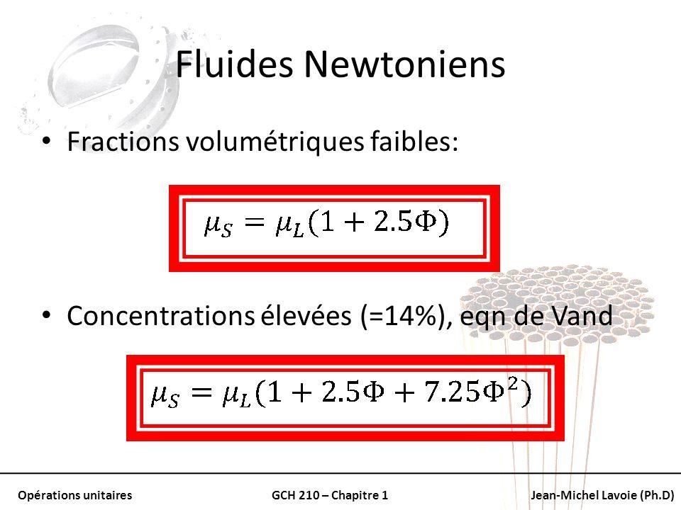Opérations unitairesGCH 210 – Chapitre 1Jean-Michel Lavoie (Ph.D) Fluides Newtoniens Fractions volumétriques faibles: Concentrations élevées (=14%), e