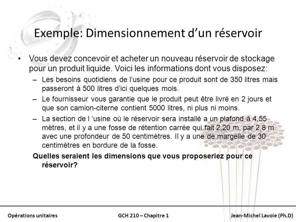 Opérations unitairesGCH 210 – Chapitre 1Jean-Michel Lavoie (Ph.D) Exemple: Dimensionnement dun réservoir Vous devez concevoir et acheter un nouveau ré