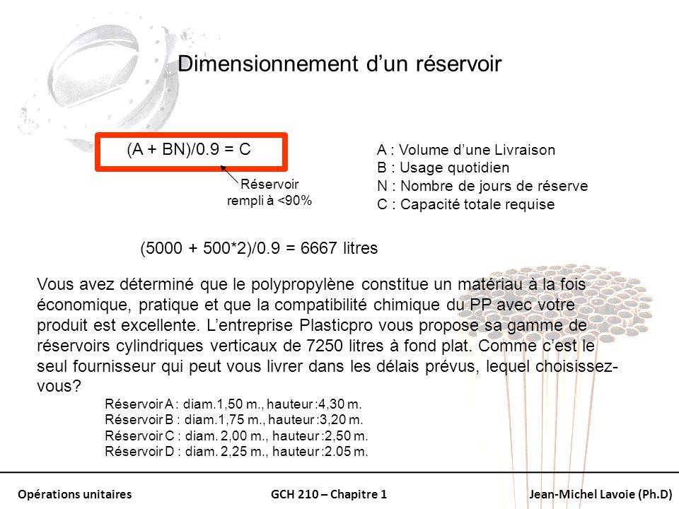 Opérations unitairesGCH 210 – Chapitre 1Jean-Michel Lavoie (Ph.D) Dimensionnement dun réservoir (A + BN)/0.9 = C A : Volume dune Livraison B : Usage q