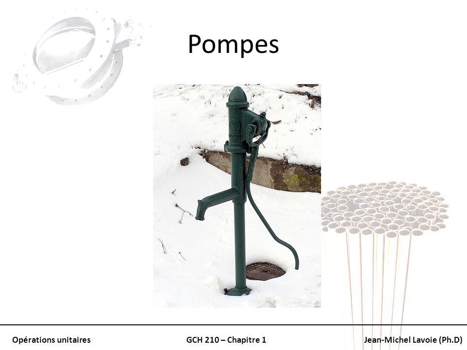 Opérations unitairesGCH 210 – Chapitre 1Jean-Michel Lavoie (Ph.D) Pompes