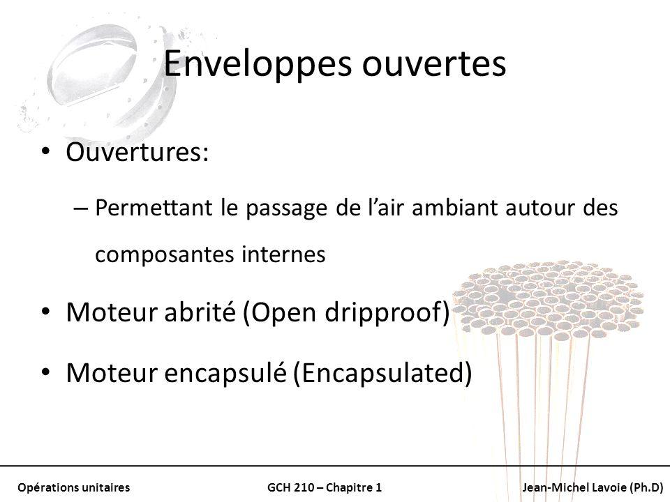 Opérations unitairesGCH 210 – Chapitre 1Jean-Michel Lavoie (Ph.D) Enveloppes ouvertes Ouvertures: – Permettant le passage de lair ambiant autour des c