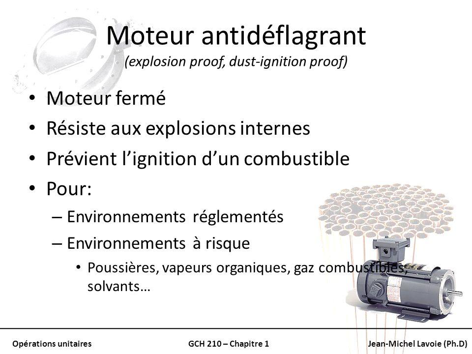 Opérations unitairesGCH 210 – Chapitre 1Jean-Michel Lavoie (Ph.D) Moteur antidéflagrant (explosion proof, dust-ignition proof) Moteur fermé Résiste au