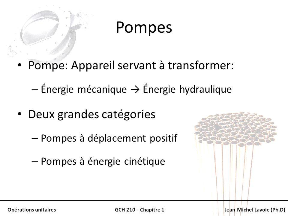 Opérations unitairesGCH 210 – Chapitre 1Jean-Michel Lavoie (Ph.D) Pompes Pompe: Appareil servant à transformer: – Énergie mécanique Énergie hydrauliqu