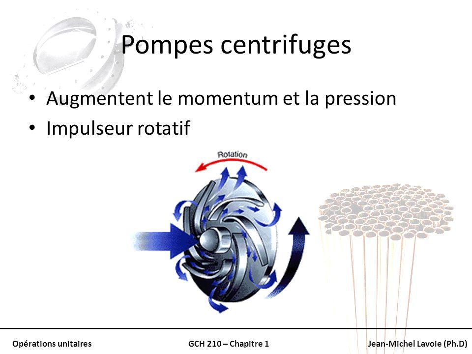 Opérations unitairesGCH 210 – Chapitre 1Jean-Michel Lavoie (Ph.D) Pompes centrifuges Augmentent le momentum et la pression Impulseur rotatif